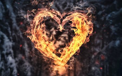 heart of fire, smoke, love concepts, burning heart, fiery heart, fire flames