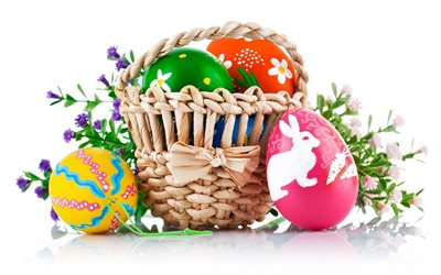 Easter basket, white background, painted eggs, Easter, spring, holidays, Easter eggs