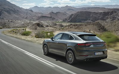 2020, Porsche Cayenne Turbo Coupe, rear view, sports SUV, new brown Cayenne, German cars, Porsche