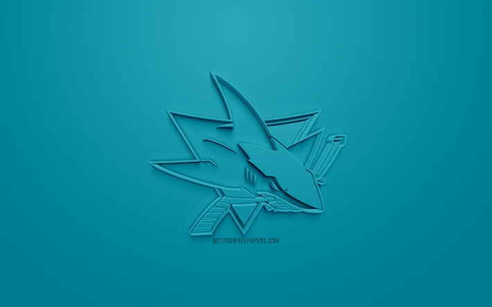 San Jose Sharks, American hockey club, creative 3D logo, blue background, 3d emblem, NHL, San Jose, California, USA, National Hockey League, 3d art, hockey, 3d logo