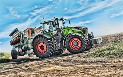 Fendt 1050 Vario, 4k, HDR, 2019 tractors, plowing field, agricultural machinery, dust, tractor in the field, agriculture, Fendt