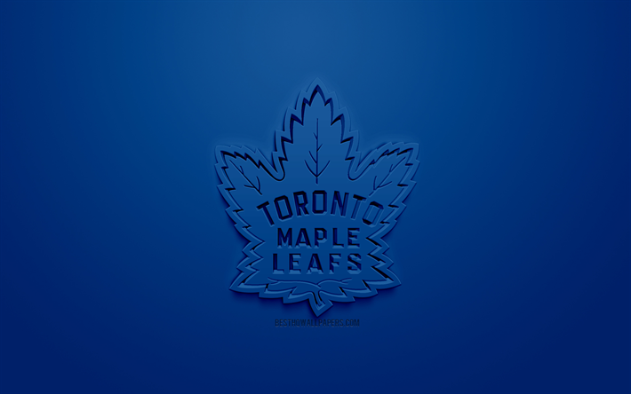 Download Wallpapers Toronto Maple Leafs Canadian Hockey Club Creative 3d Logo Blue Background 3d Emblem Nhl Toronto Ontario Canada Usa National Hockey League 3d Art Hockey 3d Logo For Desktop Free Pictures