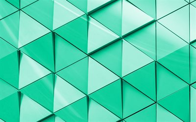 green 3d texture, texture with triangles, geometric 3d background, art, creative green background