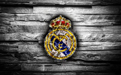 Real Madrid CF, burning logo, Galacticos, La Liga, white wooden background, spanish football club, LaLiga, grunge, Real Madrid FC, football, soccer, Real Madrid logo, fire texture, Spain