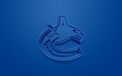 Vancouver Canucks, Canadian hockey club, creative 3D logo, blue background, 3d emblem, NHL, Vancouver, British Columbia, Canada, USA, National Hockey League, 3d art, hockey, 3d logo