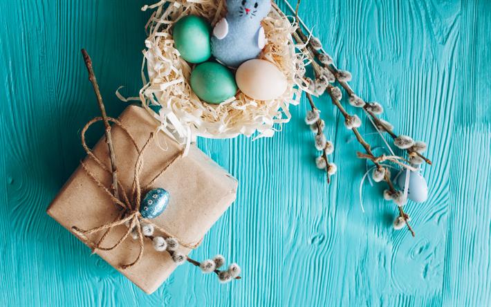 Herunterladen Hintergrundbild Blaue Ostern Hintergrund Ostern Eier