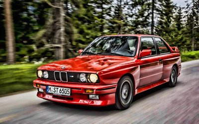 BMW M3, E30, motion blur, tuning, tunned M3, BMW E30, german cars, BMW, red E30