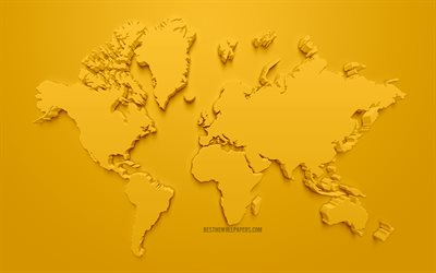Yellow 3d world map, yellow background, 3d world map silhouette, 3d artwork, world map concepts