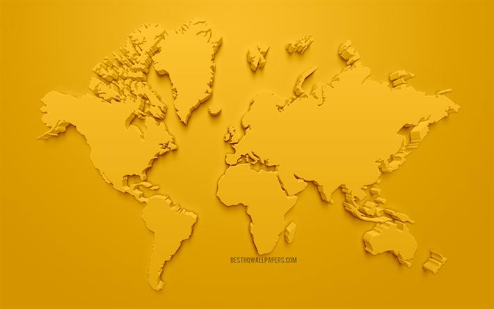Herunterladen hintergrundbild gelbe 3d-welt, karte, gelb ...