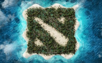 Dota, creative logo, tropical island, emblem, island in the ocean, Dota 2 logo, popular games, creative art