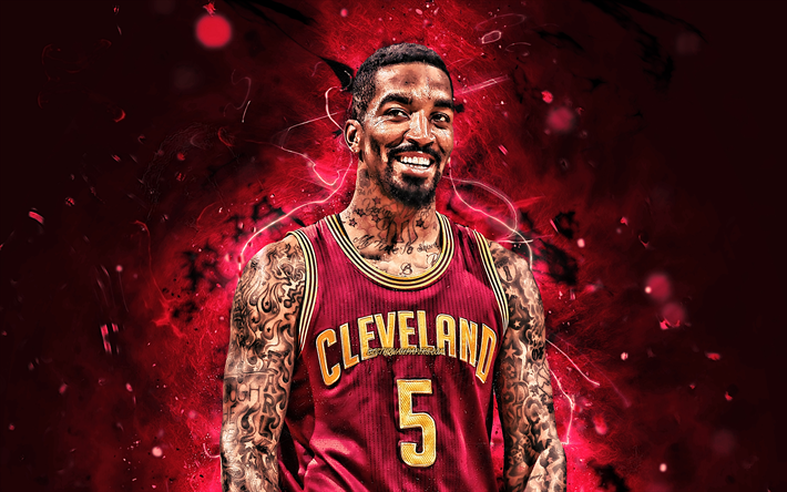 JR Smith, close-up, NBA, basket-ball étoiles, Cavaliers de Cleveland, Earl Joseph Smith III, CAV, les néons, realtristan13, basket-ball, créatif, CAV 5