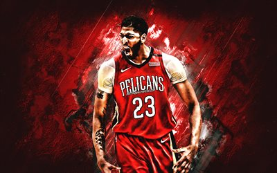 Anthony Davis, American basketball player, New Orleans Pelicans, forward, red stone background, creative art, NBA, USA, bustball, famous basketball players