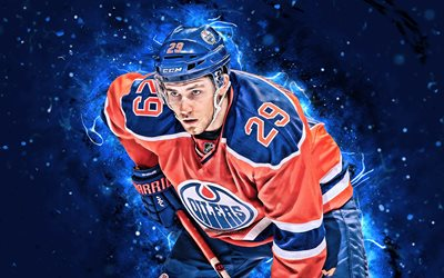 Leon Draisaitl, 4k, hockey stars, Edmonton Oilers, NHL, hockey players, Draisaitl, hockey, neon lights, Draisaitl Oilers