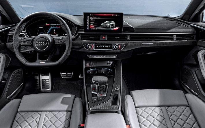 Download wallpapers Audi A4, 2020, interior, inside view, front ...