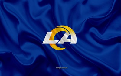 Los Angeles Rams uusi logo, 2020, sininen silkki tekstuuri, silkki lippu, NFL, american football club, Los Angeles Rams, National Football League, Los Angeles, California, USA, Rams 2020-logo