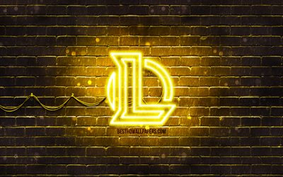 League of Legends amarelo logotipo, LoL, 4k, amarelo brickwall, League of Legends logotipo, Jogos de 2020, League of Legends neon logotipo, League of Legends, LoL logo