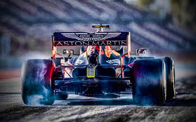 4k, Red Bull RB16, back view, raceway, 2020 F1 cars, Max Verstappen, Formula 1, bokeh, Aston Martin Red Bull Racing, F1 2020, new RB16, F1, Red Bull Racing 2020, F1 cars, Red Bull Racing-Honda