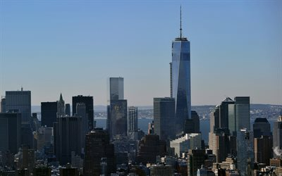 1 World Trade Center, One WTC, Manhattan, Freedom Tower, New York City, skyscrapers, modern buildings, New York cityscape, panorama, NYC, skyline, New York, USA