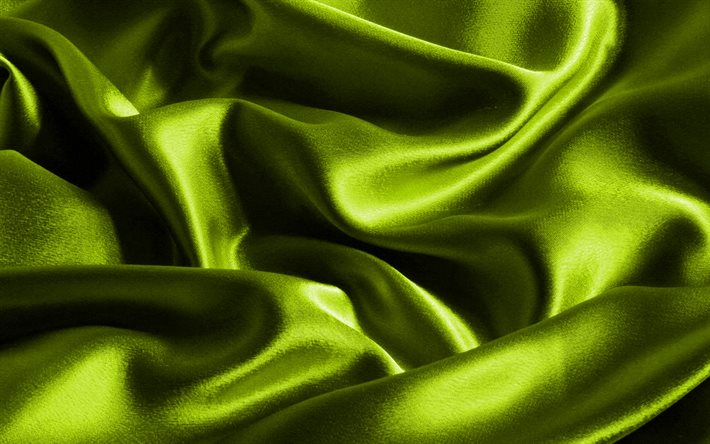 lime satin background, macro, lime silk texture, wavy fabric texture, silk, lime satin, fabric textures, satin, silk textures, lime fabric texture, lime satin texture, lime fabric background