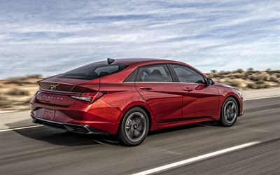 2021, Hyundai Elantra, rear view, exterior, red sedan, new red Elantra, Korean cars, Hyundai