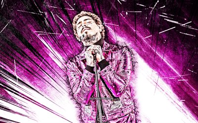 4k, Post Malone, grunge art, purple abstract rays, american rapper, music stars, american celebrity, Austin Richard Post, fan art, Post Malone 4K