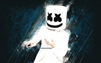 DJ Marshmello, american dj, portrait, blue stone background, creative art, popular dj, Christopher Comstock, Marshmello