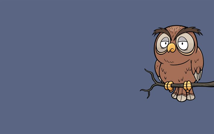 owl on tree, 4k, minimal, blue background, owl minimalism, cartoon owl, creative, owl