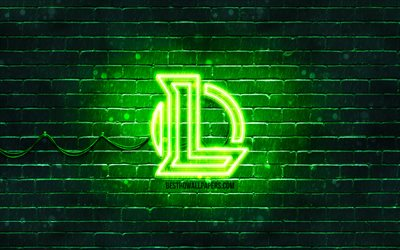 League of Legends logotipo verde, LoL, 4k, verde brickwall, League of Legends logotipo, Jogos de 2020, League of Legends neon logotipo, League of Legends, LoL logo