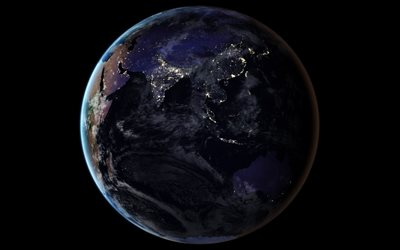 Earth from space, Earth at night, city lights from space, Indian Ocean, planet, Asia, Earth, Australia, continents