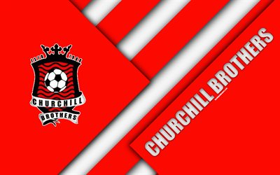 Churchill Frères FC, 4k, Indien, club de football, rouge blanc de l'abstraction, de logo, la conception de matériel, j'ai de la Ligue, Salset, l'Inde, le football