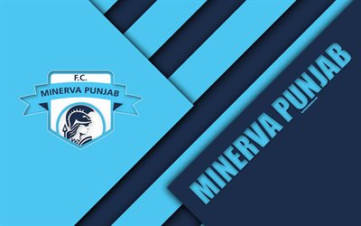 Minerva Pendjab FC, 4k, Indien, club de football, le bleu de l'abstraction, de logo, la conception de matériel, j'ai de la Ligue, à Chandigarh, en Inde, en football