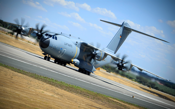 Download wallpapers Airbus A400M Atlas, 4k, military aircraft