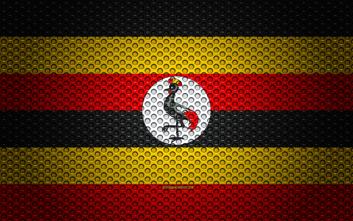Flag of Uganda, 4k, creative art, metal mesh texture, Uganda flag, national symbol, Uganda, Africa, flags of African countries