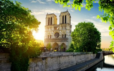 Notre-Dame de Paris, Spring, Landmark, Paris, Catholic cathedral, France, Notre Dame