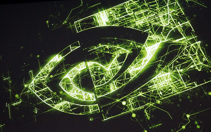 Download Wallpapers 4k Nvidia Neon Logo Darkness Creative