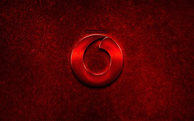 Vodafone logo, red stone background, creative, Vodafone, brands, Vodafone 3D logo, artwork, Vodafone red metal logo