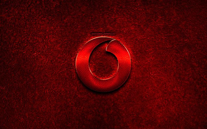 Scarica Sfondi Vodafone Logo Pietra Rossa Sfondo Creativo