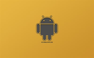 Android logo, gold background, metal mesh logo, emblem, creative art, operating systems, Android