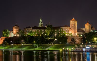 Wawel Castle, King Casimir III the Great castle, Krakow, Poland, landmark, night, beautiful castles