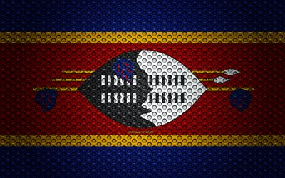 Flag of Eswatini, 4k, creative art, metal mesh texture, Eswatini flag, national symbol, Eswatini, Africa, flags of African countries