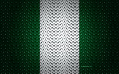 Flag of Nigeria, 4k, creative art, metal mesh texture, Nigerian flag, national symbol, Nigeria, Africa, flags of African countries