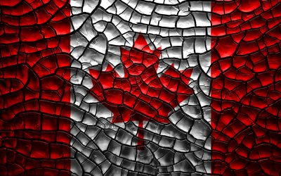 Flag of Canada, 4k, cracked soil, North America, Canadian flag, 3D art, Canada, North American countries, national symbols, Canada 3D flag
