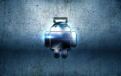 Android metal logo, blue metal background, OS, artwork, Android, brands, Android 3D logo, creative, Android logo