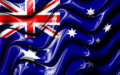 Australian flag, 4k, Oceania, national symbols, Flag of Australia, 3D art, Australia, Oceanian countries, Australia 3D flag