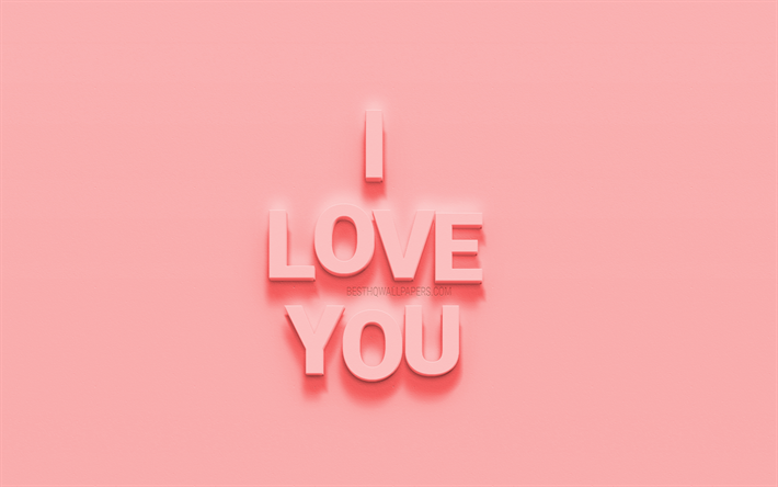 I love you, creative 3d art, 3d letters, pink background, wall texture, love concepts