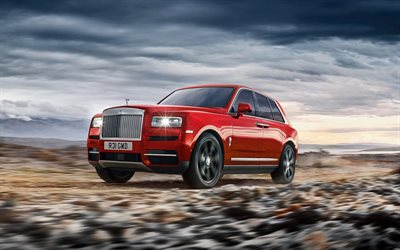 Rolls-Royce Cullinan, offroad, 2019 voitures, rouge Cullinan, de luxe, de voitures, de Vus, Rolls-Royce, 2019 Rolls-Royce Cullinan