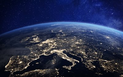 Earth at night from space, Europe, city lights, continent, satellite view, Earth