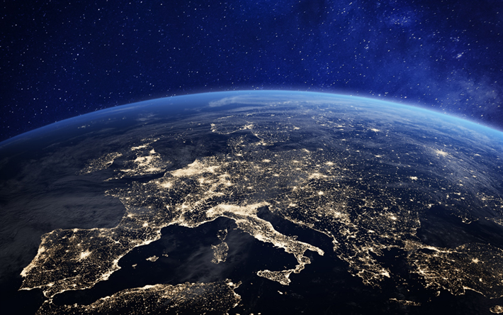 Download Wallpapers Earth At Night From Space Europe City