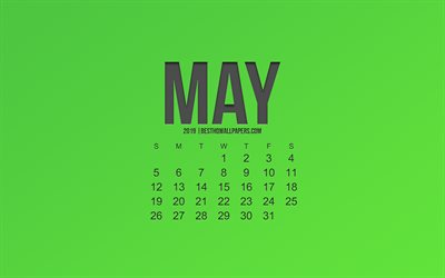 2019 May calendar, green background, spring, 2019 calendars, stylish art, calendar for 2019 May