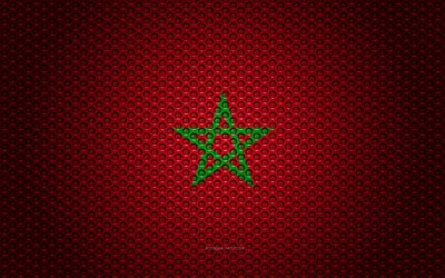 Flag of Morocco, 4k, creative art, metal mesh texture, Moroccan flag, national symbol, Morocco, Africa, flags of African countries